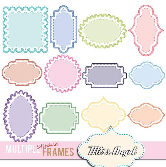 coloured frames clip art 12 digital stitched labels 6