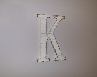 Wood Letter 12-inch Distressed Letter K Monogram Initial