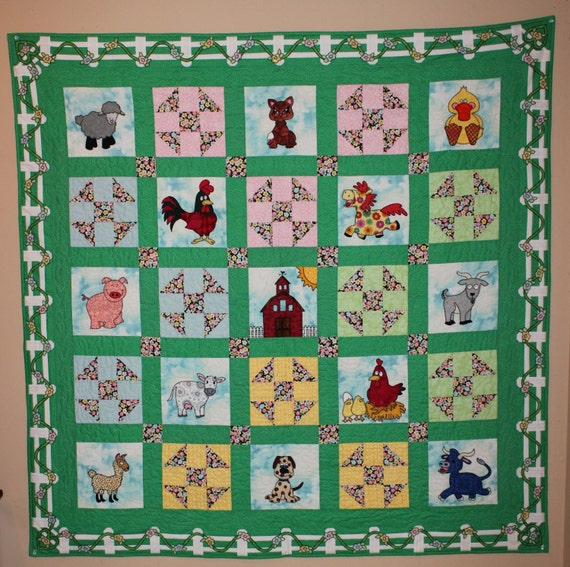 Farm Animal Applique Pdf Baby Or Childs Quilt Pattern Cat Dog
