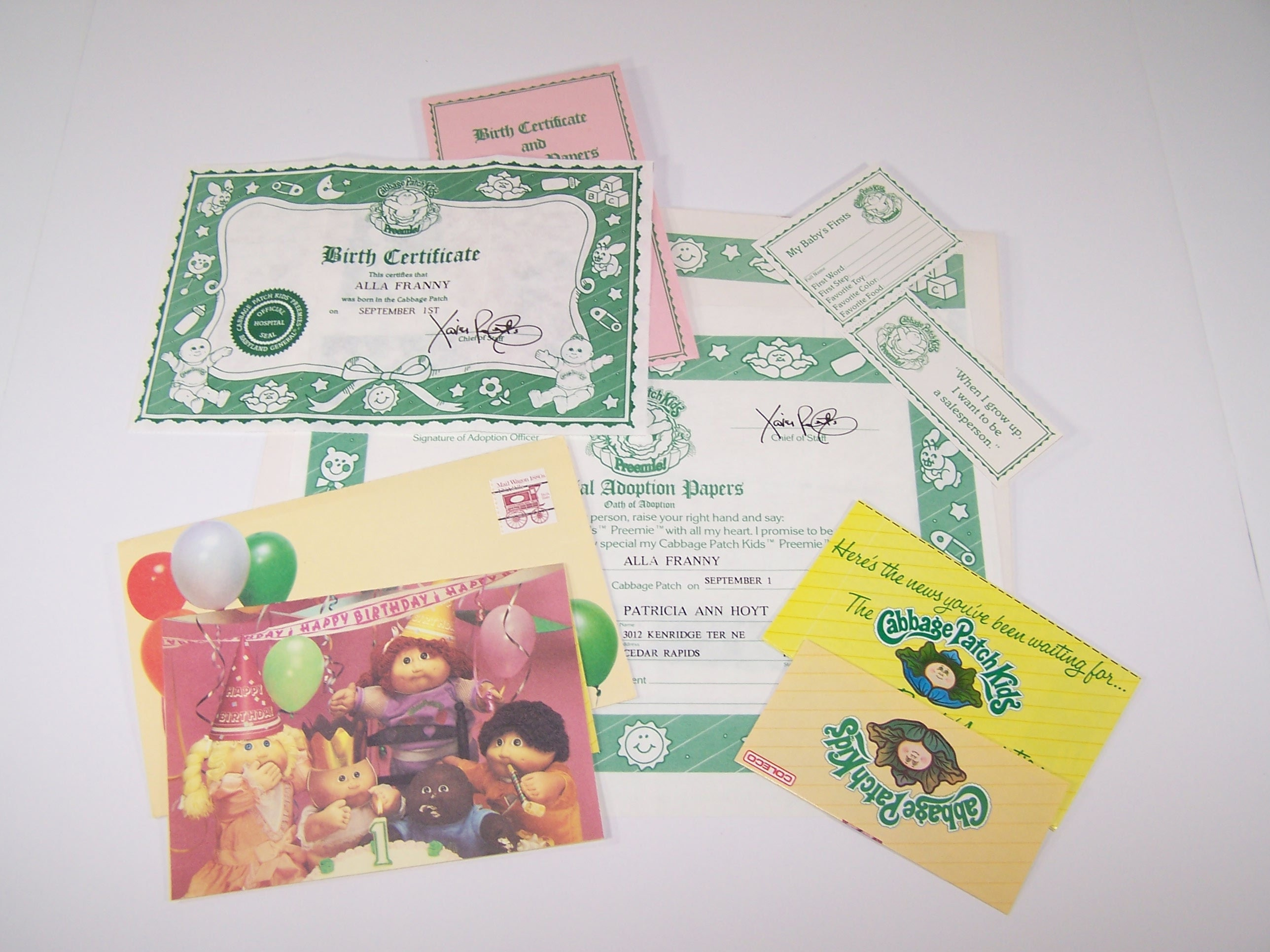 Authentic cabbage patch kids birth certificate and first description authentic cabbage patch kids birth certificate 1betcityfo Images