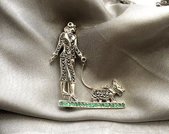 Sterling Silver Emerald Dog Walking Brooch