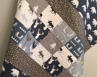 Woodland baby quilt, baby boy bedding, moose buck antlers, arrows, deer stag elk, navy, blue, gray grey greige, woodland nursery, toddler