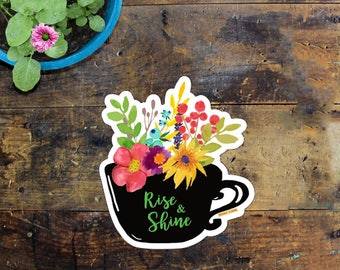 Coffee Cup Sticker - Laptop Sticker - Window Decal - Notebook Sticker - Phone Sticker - Flower and Coffee Sticker - Outside sticker