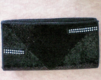 Vintage Robinson's Black Beaded Clutch with Rhinestone Accents - 3571