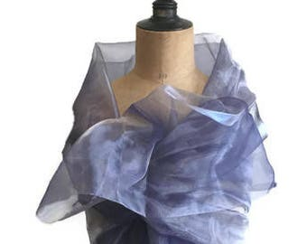Purple stole, long organza wrap, Parma shawl, wedding wrap, ceremony wrap, purple scarf