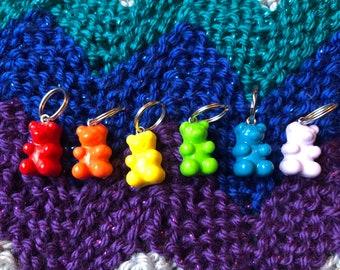 Rainbow gummy bear stitch markers