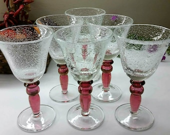 HAND BLOWN WINE Goblets Set of 6 Bubble Glass With Cranberry Stems 1990's Barware