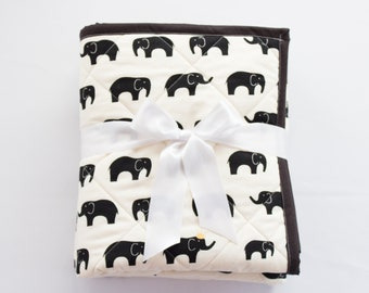 Handmade Elephant Baby Quilt, Quilted Baby Blanket, Black and White Elephant,  Quilt for Sale, Gender Neutral Baby Gift, Elephant Nursery