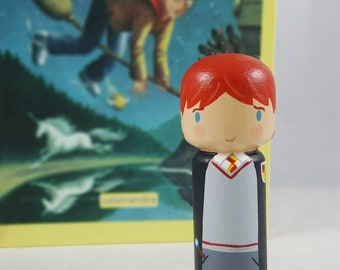Kokeshi Peg Doll Ron Weasly charecter from Harry Potter wooden doll