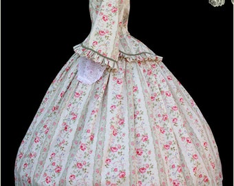 1800's 2 pc Civil War Victorian Tea Dress Day Gown with Stripes and Roses Gorgeous New Reenactors Handmade