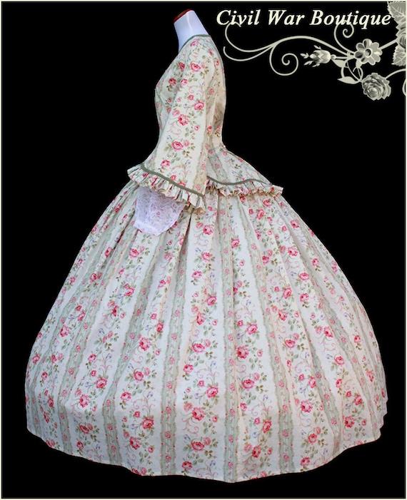 1800 2 pc Bürgerkrieg viktorianischen Tee Kleid Tag Kleid mit