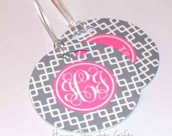 Personalized Bag Tags - Monogrammed Luggage Tag - Round Luggage Tag - Custom Luggage Tag - Choose Your design