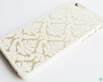 White Damask print hard phone case for iPhone 6 6S