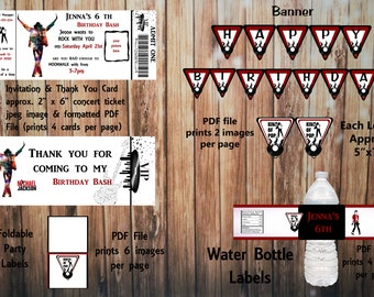 Printable Michael Jackson Birthday Kit, Invitation and Thank You Card, Water Bottle Label, Banner, Party Labels