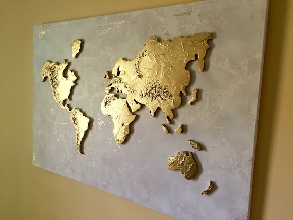 Large original world map painting world map map art globe large original world map painting world map map art globe painting world map canvas painting 3d gold world map gumiabroncs Gallery