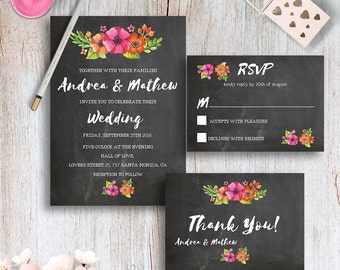 Printable Pink Wedding Invitation Kit Chalkboard Wedding Invitation Set Bohemian Wedding Invites Floral Watercolor Wedding Invite Printable