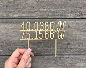"""Personalized Coordinates Wedding Cake Topper 5"""" inches wide, Travel Theme Cake Topper, Rustic Cute Unique Toppers Location Topper"""