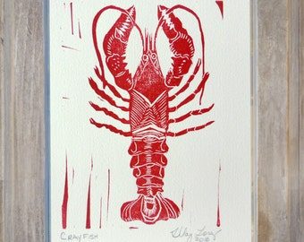 Crayfish Hand carved and hand printed linocut