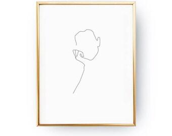 Thinking Woman Print, Black And White, Minimalist Art, Minimalist Silhouette, Single Line Art, Simple Sketch, Line Drawing Print, Female Art