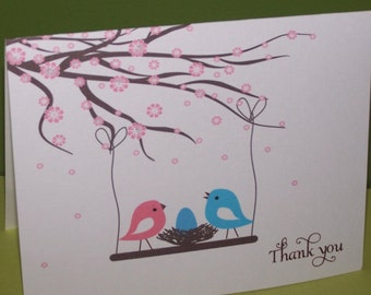 Baby Thank you cards, Personalized cherry blossom birds nest (set of 10)