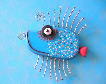 Blue Grouper, MADE to ORDER, Original Found Object Wall Sculpture, Wood Carving, Fish Sculpture, Wall Decor, by Fig Jam Studio