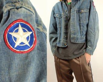 Vintage 80s LEE Denim Jacket - Lee Cropped Fit Jean Jacket - 90s Medium Wash Denim Jacket - Patch Denim Jacket Rare - Size Medium