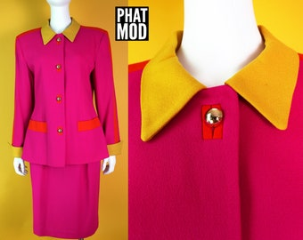 VIBRANT Vintage 90s Designer Bright Pink, Orange, Yellow Color Block Two-Piece Blazer & Skirt Suit Set by Morgan Miller