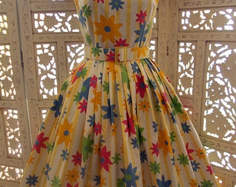 50s/60s style floral full skirt sundress in yellow & white stripes and daisies made in genuine 50s Vintage chintzy cotton fabric.