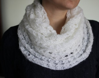 Knitting Loop Scarf : Knit loop scarf mohair cowl infinity knitted
