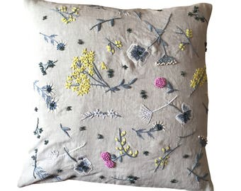 Meadow cushion, grey, yellow, white and pink on dove grey linen