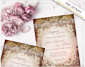 Victorian Wedding Invitation Printable Set Fancy Vintage DIY Wedding Invitation + RSVP Template Fairy Tale Wedding Blush Pink Vintage