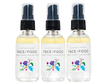 Flower Power Healing Toner/Rose Toner/Tea Tree Toner/Facial Toner/Rose Oil/Lavender Facial Mist/Organic Toner/Organic Rose Toner