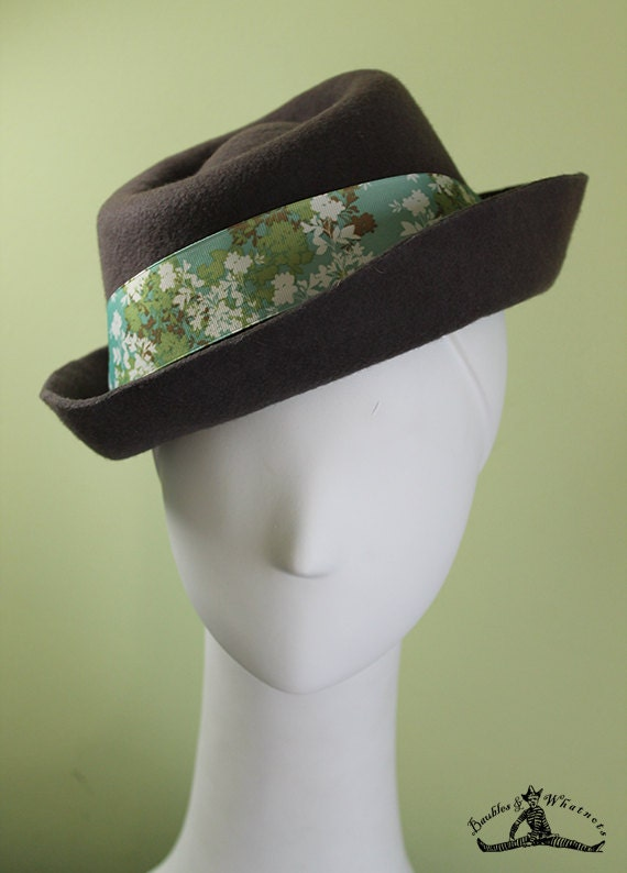 Women's Taupe Porkpie Inspired Fall Winter Wool Hat - Porkpie Hat - Women's Porkpie - OOAK