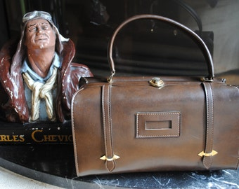 Bag or Briefcase in brown leather 40s