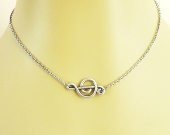 Steampunk Music Note Necklace Sterling Silver Ox Finish Sideways Music Note