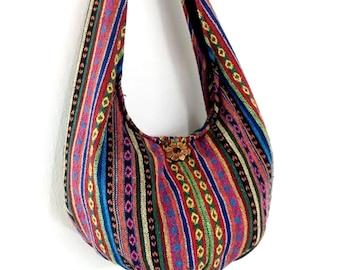 Woven Bag Handbags Purse Tote Thai Cotton Bag Tribal bag Hippie bag Hobo bag Boho bag Shoulder bag Women bag Everyday bag Short Strap (WF34)