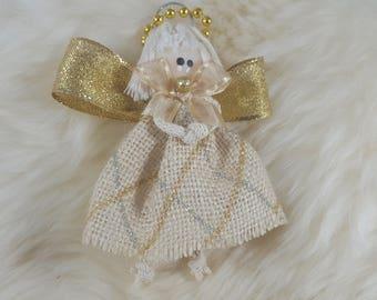 Angel Dolls: Beige Burlap Doll Silver + Gold