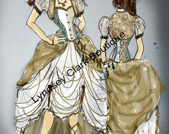 Illustration art print of Steampunk wedding dress design