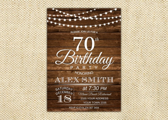 70th birthday invitation 70th birthday wooden printable filmwisefo Gallery