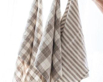 Linen towels, Linen kitchen towels, Set of three kitchen towels, Beige linen kitchen towels, Striped linen kitchen towels, Checked towels