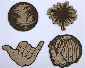 Beach Vibes Coasters / Laser Cut / Drink coasetrs / Set of 4