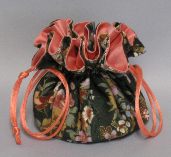 Jewelry Travel Tote--Drawstring Organizer Pouch--Spring Floral Design---Regular Size