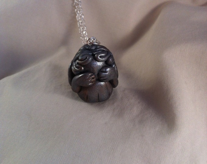 Weeping Angel polymer clay pendant Whovian