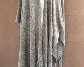 Moss Green Large Chenille Shawl with Fringes