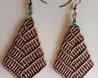 Χειροποίητα μακραμέ σκουλαρίκια / Handmade macrame casual cord earrings