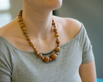Apple necklace, wood necklace, beaded necklace, wood jewelry, organic wood necklace, natural necklace, eco design, handmade necklace