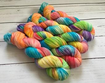 Skittles Hand Dyed Superwash BFL/ Nylon Sock Yarn