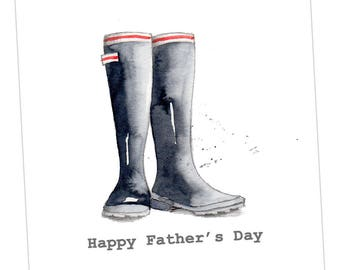 Black Wellies Fathers Day Embellished Card taken from an Original Watercolour