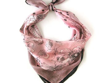 Vintage Pink FLORAL Scarf / Illustrated Flowers in Vera Style / Large Silk Scarf in Pink and Black / Rolled Hem Scarf / Gift for Her
