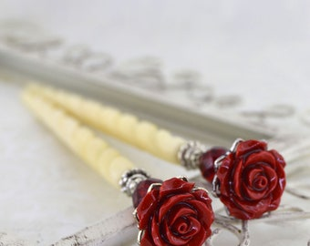 Rose Hairsticks | Bella Rosa | Red Hairsticks, Romantic Hairsticks, Romantic Victorian, Elegant Hairsticks, Red Rose, Gift for her